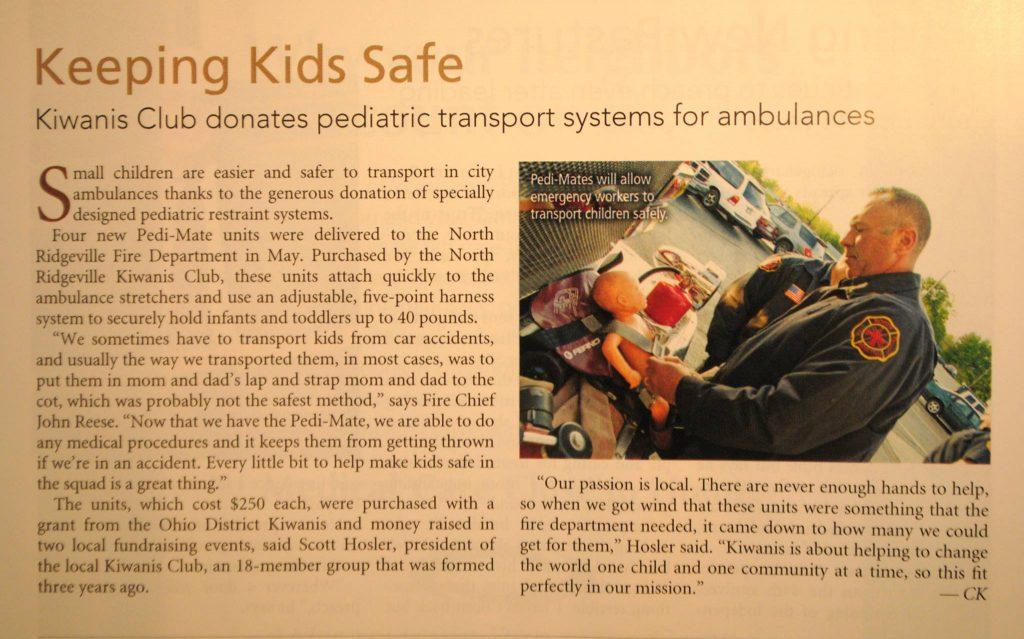 "Newspaper article titled ""Keeping Kids Safe"""