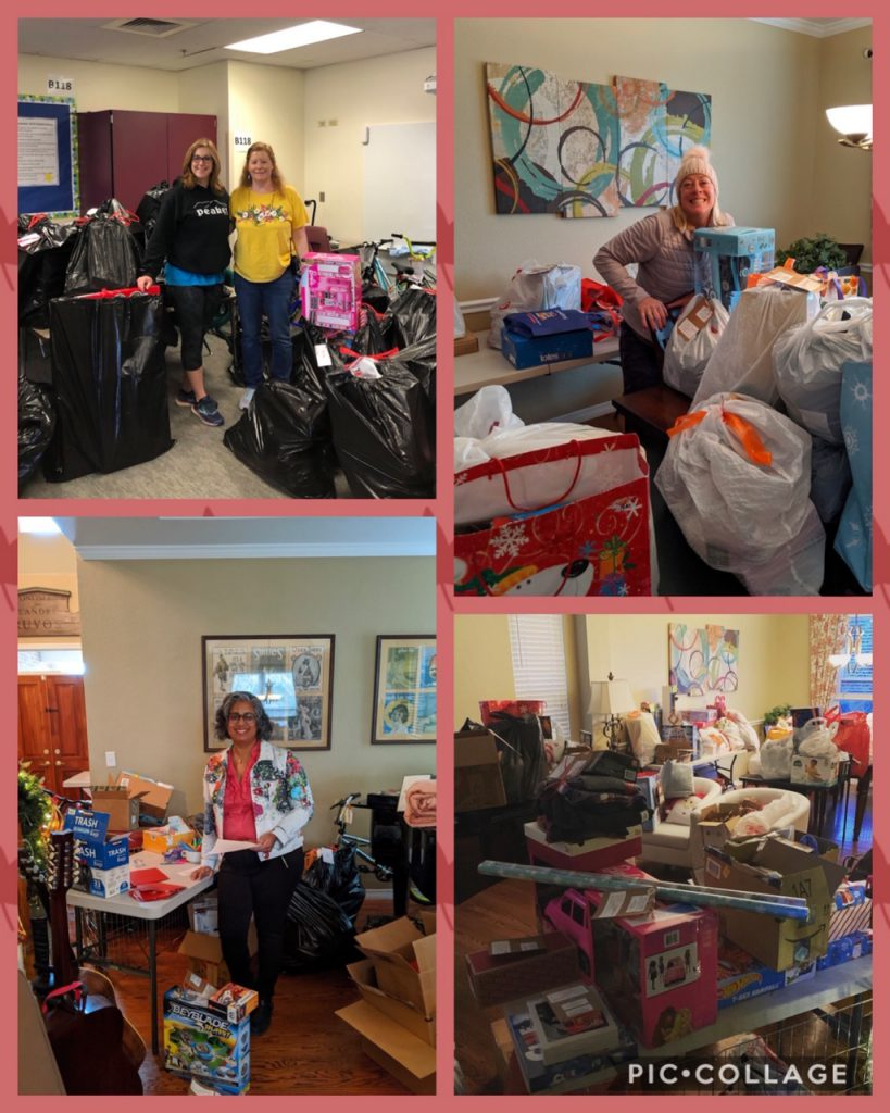 collage of volunteers with giving tree toys and gifts