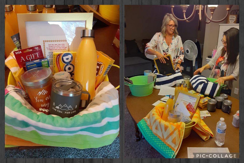 Teacher Appreciation gift basket and volunteers assembling them.
